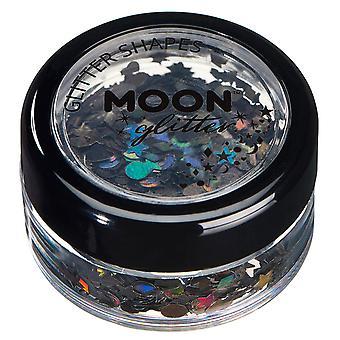 Formas de brillo holográfico de luna brillo – 100% brillo cosméticos para rostro, cuerpo, uñas, pelo y labios - 3g - negro