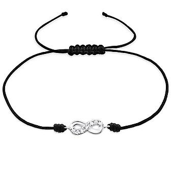 Infinity - 925 Sterling Silver + Nylon Cord Corded Bracelets - W25485x