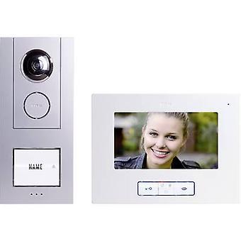 m-e moderno-elettronica Vistus VD 6710 porta videocitofono kit completo con filo staccato argento, bianco