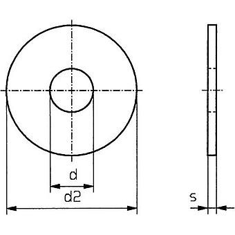 TOOLCRAFT 5,3 D9021 A2 194719 arandelas diámetro: 5,3 mm M5 DIN 9021 inoxidable A2 100 PC