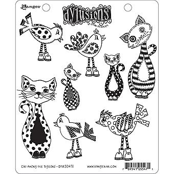 """Dyan Reaveley's Dylusions Cling Stamp Collections 8.5""""X7"""" - Cat Among Pigeons"""