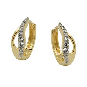 Creole 13x5mm hinged flip top Teardrop with Zircons 9Kt GOLD