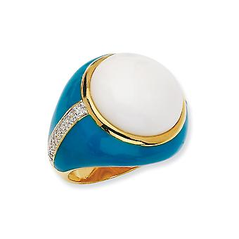 14k Gold Plated 925 Sterling Silver Enamel Blue Enam Simul. Wht Agate and CZ Cubic Zirconia Simulated Diamond Ring Jewel