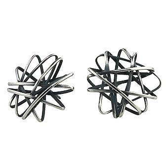 Ti2 Titanium Round Cage Chaos Stud Earrings - Black