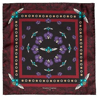 Simon Carter Scarab and Orchid Silk Pocket Square - Burgundy