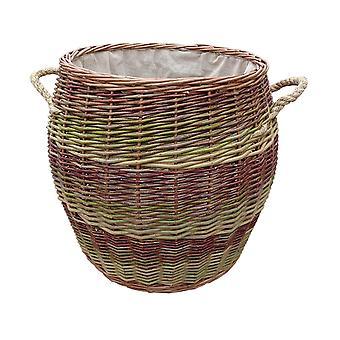 Rope Handle Wicker Barrel Log Basket