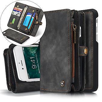 CASEME iPhone 8/7/SE Retro Split Leather Wallet Case - Gris