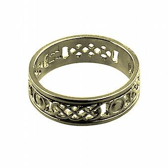 18ct Gold 6mm pierced Celtic Wedding Ring Size Z