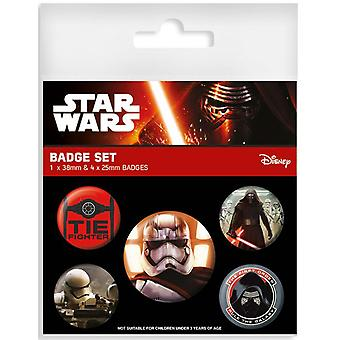Star Wars Episode 7 Button Set (5-teilig) The First Order Material: Blech, bedruckt. 1 x 3,8cm & 4 x 2,5cm Durchmesser.