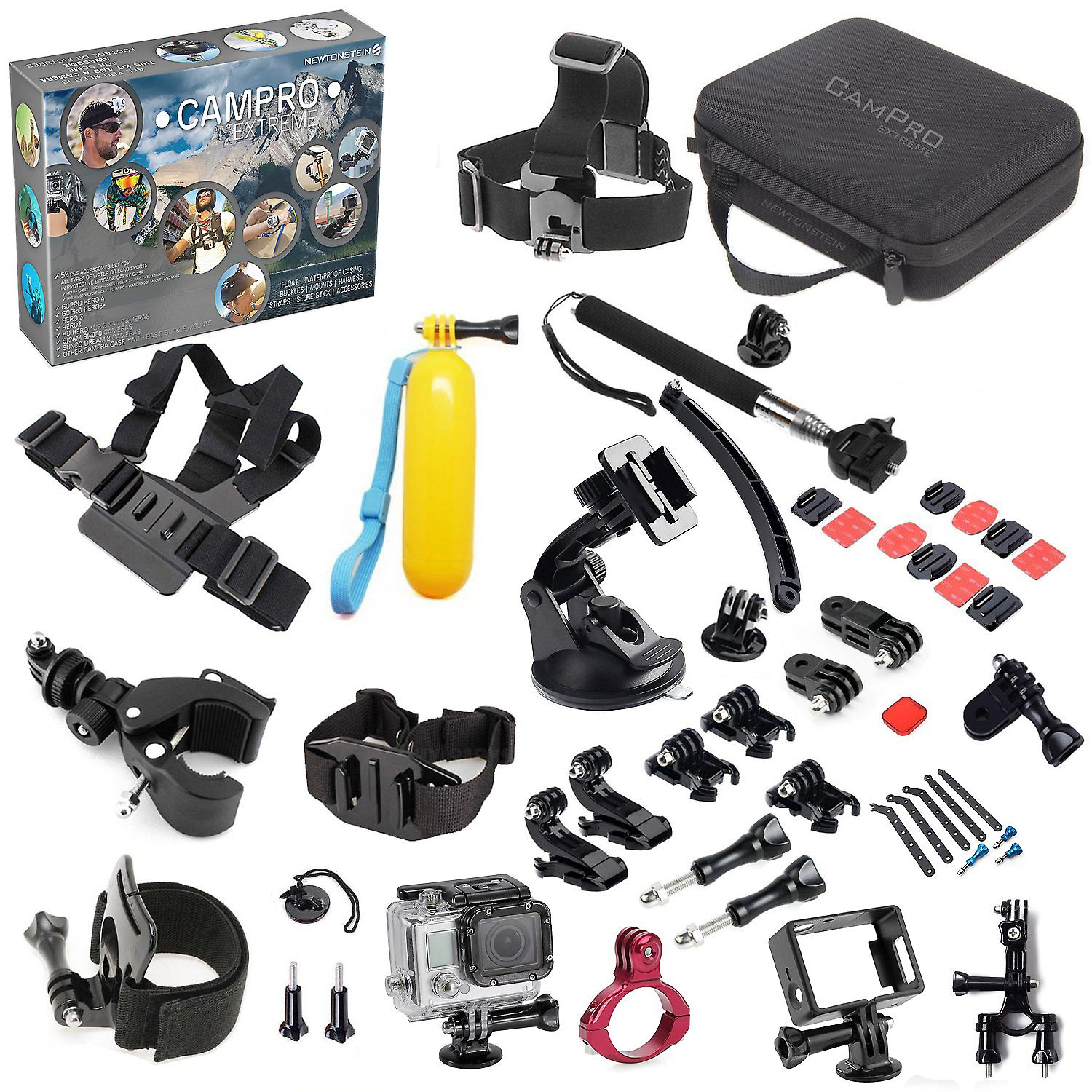 CamPro Extreme - Complete Sports 52pcs Camera Accessories Bundle 23 in 1 Set Kit For Official Gopro Go Pro Hero 1 2 3 3+ 4 SJCAM SJ4000 Sunco DREAM 2 Sports Cameras and Many More. Comes with Head Chest Body Harness; Helmet Wrist Telescopic Bike Motorcycle Car Floating Waterproof Mounts; Image Colour Filters and More for All Types of Water or Land Sports in Storage Carry Case