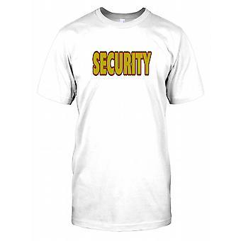 Bezpieczeństwa w czerwone i żółte tekst męskie T Shirt