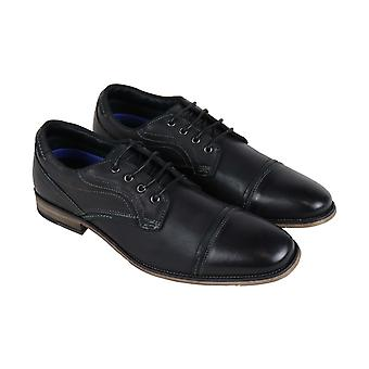 Steve Madden  Mens Black Leather Dress Lace Up Oxfords Shoes