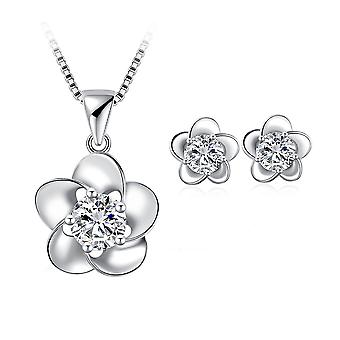 925 Sterling Zilver sierlijk elegante bloemen ontwerpen solide sieraden Set
