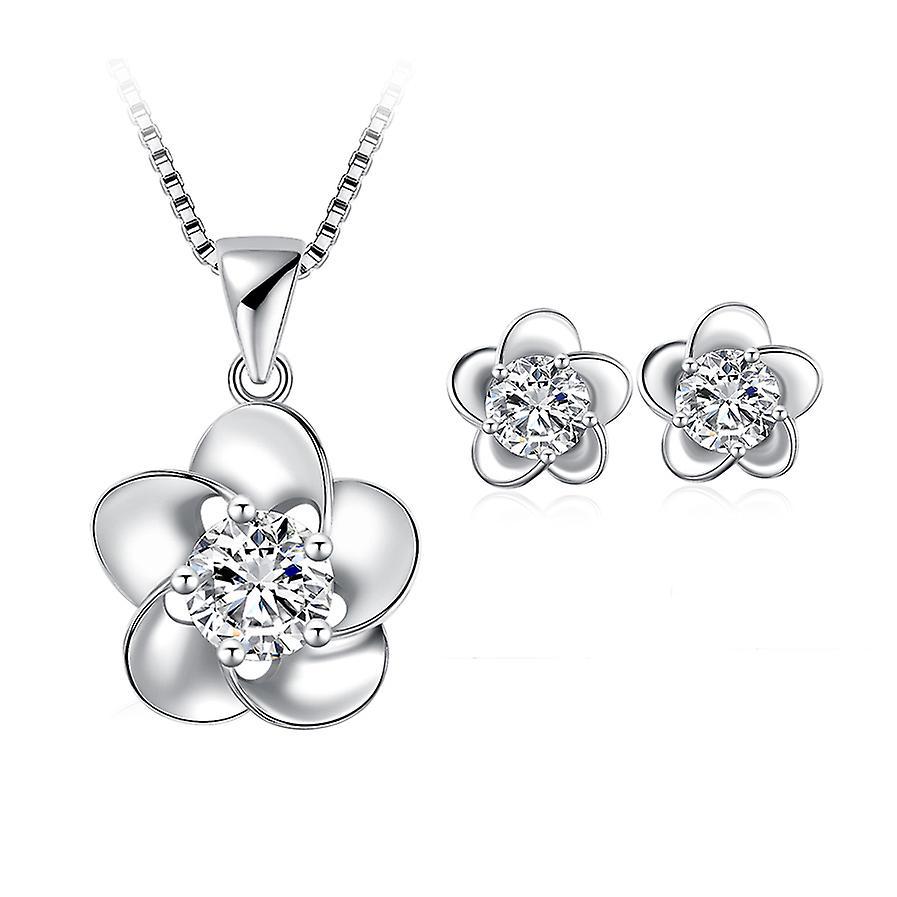 925 Sterling Silver Dainty Elegant Flowers Design Solid Jewellery Set