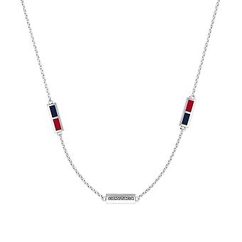 Gonzaga University Sterling Silver Engraved Triple Station Necklace In Blue & Red