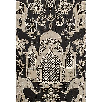 Indo Chic Wallpaper Elephant Temple Palm Trees Tropical Paste The Wall 2 Colours