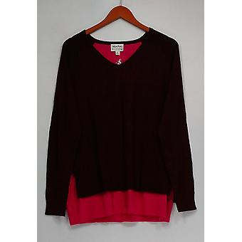 Linea by Louis Dell'Olio Sweater Whisper Knit V-Neck Purple A268130