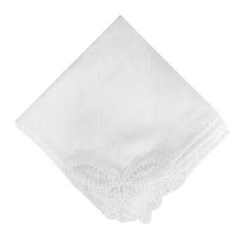 12 Pack Women's/Ladies Plain White Handkerchiefs With A Butterfly Lace Corners, 100% Cotton