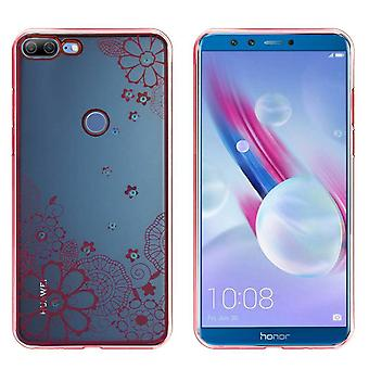 Huawei Honor 9 Lite Fall Blumen Rose Gold - Backcover Clear Bumper Look