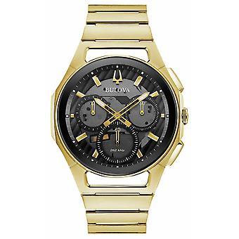 Bulova | Curv | Mens | Gold Tone Bracelet | Black Chrono Dial | 97A144 Watch