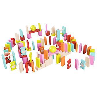 Classic World-børn ' s træbjørn ' s Dominoes byggesten, pædagogisk lege legetøj
