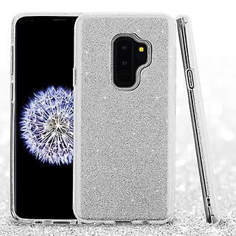 ASMYNA כסף היברידית מלא נצנצים עבור גלקסי S9 Plus
