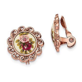 Rose ton Blommig Decal Non Pierced Round Örhängen Smycken Gåvor för kvinnor