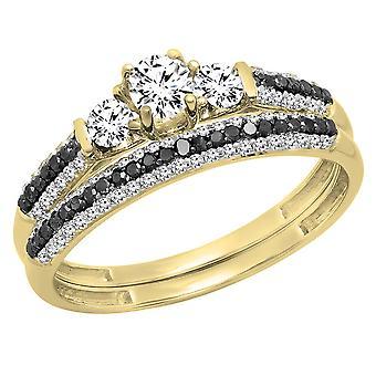 Dazzlingrock Collection 10K White Sapphire, Black & White Diamond 3 Stone Bridal Engagement Ring Set, Yellow Gold