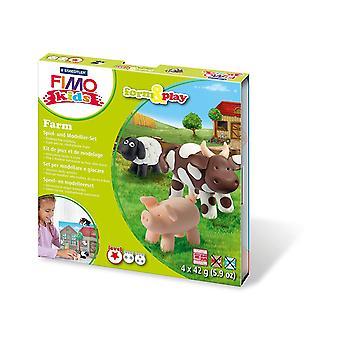 Fimo 7-delige Kinder vorm en speelboerderij modellering set, multi-colour