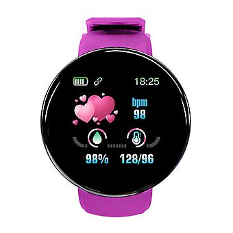 Stoff zertifiziert® Original D18 Smartwatch gebogen HD Smartphone Fitness Sport Aktivität Tracker Uhr iOS Android Pink