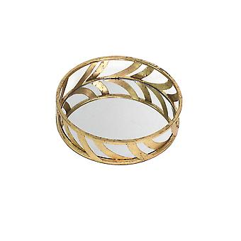 "14"" x 14"" x 4"" Gold Streamline Mirror Tray"