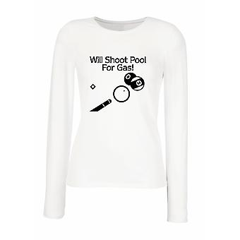 White women's long-sleeved T-shirt wtc1540 will shoot pool for gas