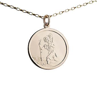 9ct Gold 25mm round St Christopher Pendant with a 1.4mm wide belcher Chain 24 inches