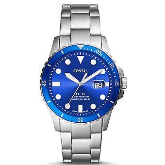 Fossilt ur FS5669-dyk Dateur stål sølv dial blå mænd