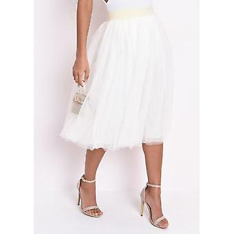 High Waisted Layered Mesh Tulle Midi Skirt Cream