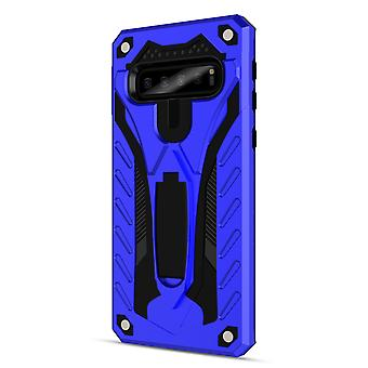 Pour Samsung Galaxy S10 Case, Armour Strong Shockproof Tough Cover Kickstand Blue