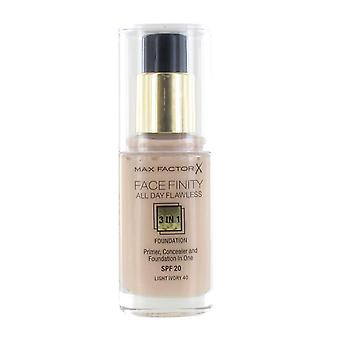 Max Factor Facefinity All Day Flawless 3 in 1 Foundation SPF30 30ml -#040 Light Ivory