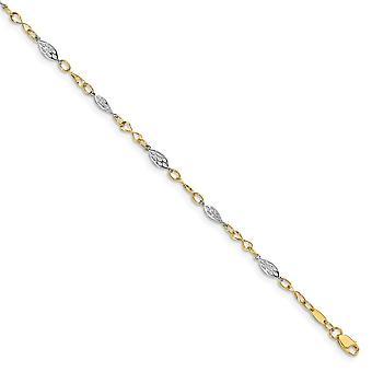 4.25 mm 14k dva tóny leštené 1inch ext. Anklet 9 palcov šperky Darčeky pre ženy-2,1 gramov