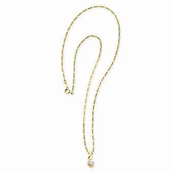 14k Vergulde Gift Boxed Kreeft Claw Sluiting Ronde CZ Cubic Zirconia Gesimuleerde Diamanten Ketting 18 Inch Sieraden Geschenken