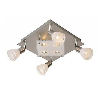 Lucide Kolla LED moderne quadratische Glas Satin Chrom Deckenstrahler