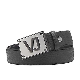 Versace Jeans Black Leather Belt With Plaque Buckle D8YSBF07