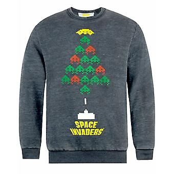 Space Invaders Christmas Tree Design Men's Grey Christmas Jumper
