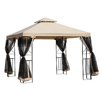 Outsunny 3 x 3 Meter Metal Gazebo Garden Outdoor Marquee Party Tent Canopy Pavillion Patio Shelter with Mesh Sidewalls