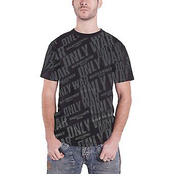 Warhammer 40k T Shirt Only War Vintage All over Print new Official Mens Black