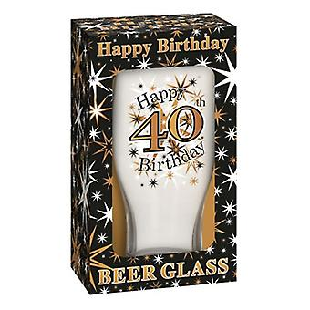 Simon Elvin Keepsakes Black Gold 40th Beer Glass