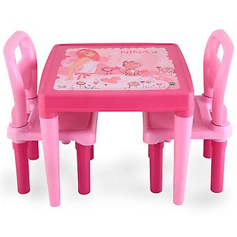 Pilsan children's table with 2 children's chairs pink 03414, child seat group, from 3 years