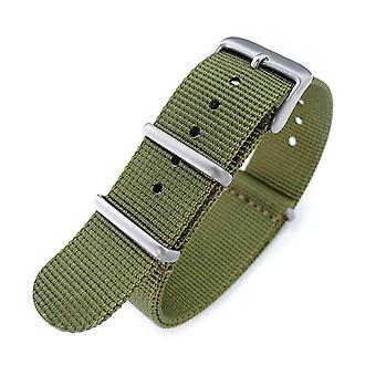 Strapcode n.a.t.o klocka rem 20mm g10 militära klockarmband nylonrem, militär grön, sandblästrad, 260mm