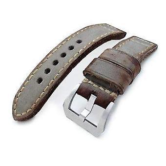 Strapcode læder urrem 22mm miltat håndlavede vintage kalv læder ur band, håndmalet grå, hånd sting