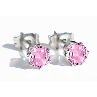 Ah, não! Jóias de aço inoxidável rosa garanhões redondos, carimbado 316