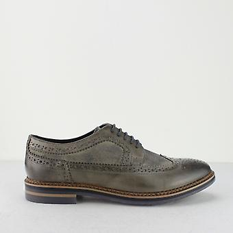 Base London Turner Mens Leather Brogue Shoes Grey